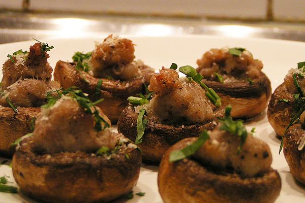 mushroom sausage canape