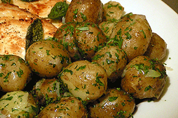 New Potatoes Sauteed with Butter, Parsley & Spring Onions